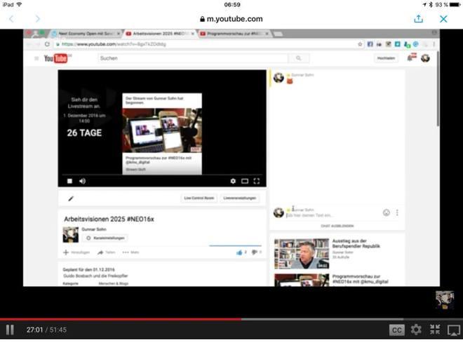 Wie man bei den #NEO16 Sessions auf YouTube Fragen stellen kann über die Chat-Funktion - so sieht das bei jeder Session aus.